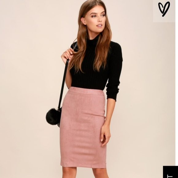 02503578f Lulu's Skirts | Lulus Superpower Blush Faux Suede Pencil Skirt ...